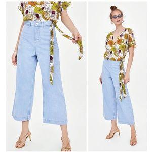 EUC Zara Light Blue High Rise Wide Leg Jeans Sz 4